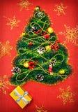 Uma árvore de Natal pequena do ouropel, das porcas, das fitas e dos ornamento Presente para uma árvore de Natal, um relógio do vi imagem de stock royalty free