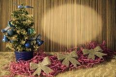 Uma árvore de Natal pequena em um fundo de madeira para cartão e Fotos de Stock Royalty Free
