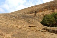 Uma árvore e um monte com o céu do complexo sittanavasal do templo da caverna Imagens de Stock Royalty Free