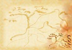 Uma árvore em uma rocha ilustração do vetor