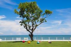 Uma árvore grande entre as bolas coloridas pequenas Imagem de Stock Royalty Free