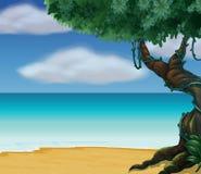 Uma árvore grande na praia ilustração royalty free
