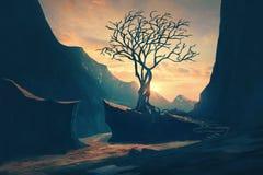 Uma única árvore entre montanhas ilustração royalty free