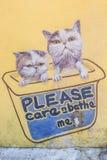 Uma única peça da arte da rua dos 101 gatinhos perdidos projeta-se Fotos de Stock