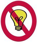 Uma 2D ilustração de uma ampola do filamento e de um símbolo vermelho t da proibição Foto de Stock Royalty Free