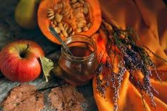 Uma abóbora e um mel acolhedores mornos simples da vida da casa ainda Imagens de Stock