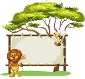 Uma abelha e um leão e o signage vazio ilustração royalty free