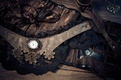 Uma ainda-vida bonita no estilo do steampunk com protetor vai Fotografia de Stock