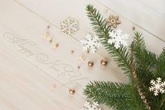 Uma ainda-vida com ramos de uma árvore de Natal Fotografia de Stock Royalty Free