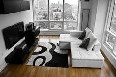 Uma almofada do celibatário - uma sala de visitas moderna Fotografia de Stock Royalty Free