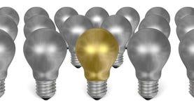 Uma ampola dourada entre muitos prata umas ilustração do vetor