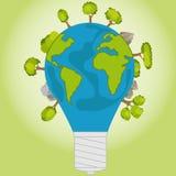 Uma ampola sob a forma de uma terra do planeta Símbolo de Eco Fotografia de Stock
