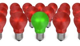 Uma ampola verde entre o vermelho uns ilustração stock