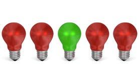 Uma ampola verde na fileira do vermelho uns. Vista dianteira ilustração royalty free