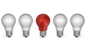 Uma ampola vermelha na fileira do branco uns. Vista dianteira ilustração stock