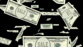 Uma animação da queda cem notas de dólar com venda como presidentes