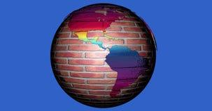 Uma animação da terra do planeta feita dos tijolos e completa das cores ilustração stock