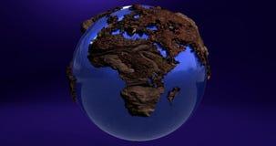 Uma animação da terra do planeta na cor azul e dos continentes feitos da madeira ilustração stock