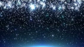 Uma animação de flocos de neve de queda em uma luz - fundo azul filme