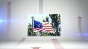 Uma animação de fogos de artifício do 4 de julho uma bandeira americana e uma bandeira de 76 Bennington ilustração do vetor