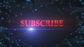 Uma animação de uma tela do título do polígono com subscreve o sinal