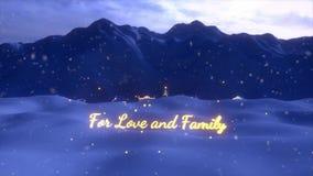 Uma animação do término da cena do Natal com uma árvore de Natal ana um sinal indicado por letras do ouro
