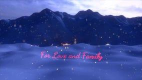 Uma animação do término da cena do Natal com uma árvore de Natal ana um vermelho e um sinal indicado por letras do ouro