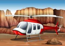 Uma aterrissagem do helicóptero na terra Fotografia de Stock Royalty Free