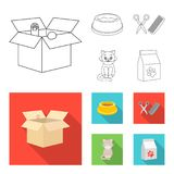 Uma bacia com alimento, um corte de cabelo para um gato, um gato doente, um pacote das alimentações em ícones da coleção do grupo ilustração royalty free