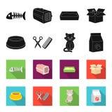 Uma bacia com alimento, um corte de cabelo para um gato, um gato doente, um pacote das alimentações em ícones da coleção do grupo ilustração do vetor