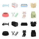 Uma bacia com alimento, um corte de cabelo para um gato, um gato doente, um pacote das alimentações em ícones da coleção do grupo ilustração stock