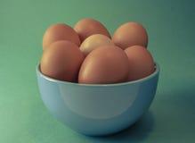 Uma bacia de ovos no backround levemente azul Foto de Stock