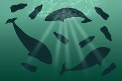 Uma baleia do plástico do lixo que flutua no oceano ilustração do vetor