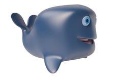 Uma baleia dos desenhos animados 3D, rendição 3D Foto de Stock Royalty Free