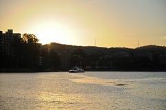 Uma balsa no rio de Brisbane no tempo ajustado do sol Imagem de Stock