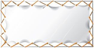 Uma bandeira branca vazia e um quadro do metal ilustração do vetor