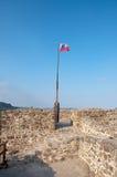 Uma bandeira no castelo de Szigliget Fotografia de Stock