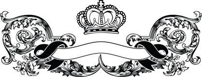 Uma bandeira real do vintage da coroa da cor ilustração do vetor