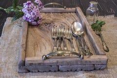 Uma bandeja de madeira Imagem de Stock Royalty Free