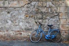 Uma bicicleta azul do vintage Fotografia de Stock