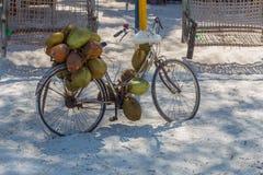 Uma bicicleta velha com os cocos nela Opinião da vila de Zanzibar imagens de stock royalty free