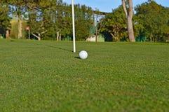 Uma bola de golfe no verde Fotografia de Stock Royalty Free