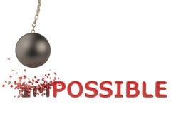 Uma bola grande do ferro para quebrar o texto, impossível a possível, illustra 3D ilustração royalty free