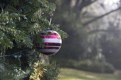 Uma bola listrada do Natal foto de stock