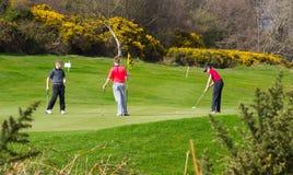 Uma bola três de brotar os jogadores de golfe amadores novos que põem para fora sobre o 9o verde do curso de Dufferin em Clandebo Fotografia de Stock