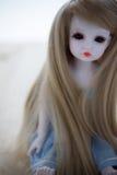 Uma boneca bonito da menina com cabelo marrom na emoção triste Foto de Stock Royalty Free