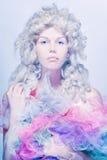 Uma boneca ou uma princesa. O frio tonifica a foto. Fotografia de Stock Royalty Free