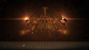 Uma brasão do metal com uma espada e os dois dragões aparece do fumo e das faíscas, e então desaparece outra vez ilustração do vetor