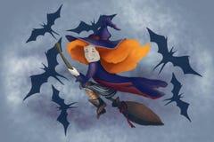 Uma bruxa bonito pequena em um cabo de vassoura com bastões voa na névoa Halloween Noite azul ilustração do vetor