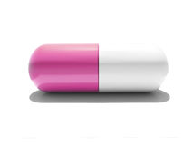 Uma cápsula cor-de-rosa e branca isolada Ilustração do Vetor